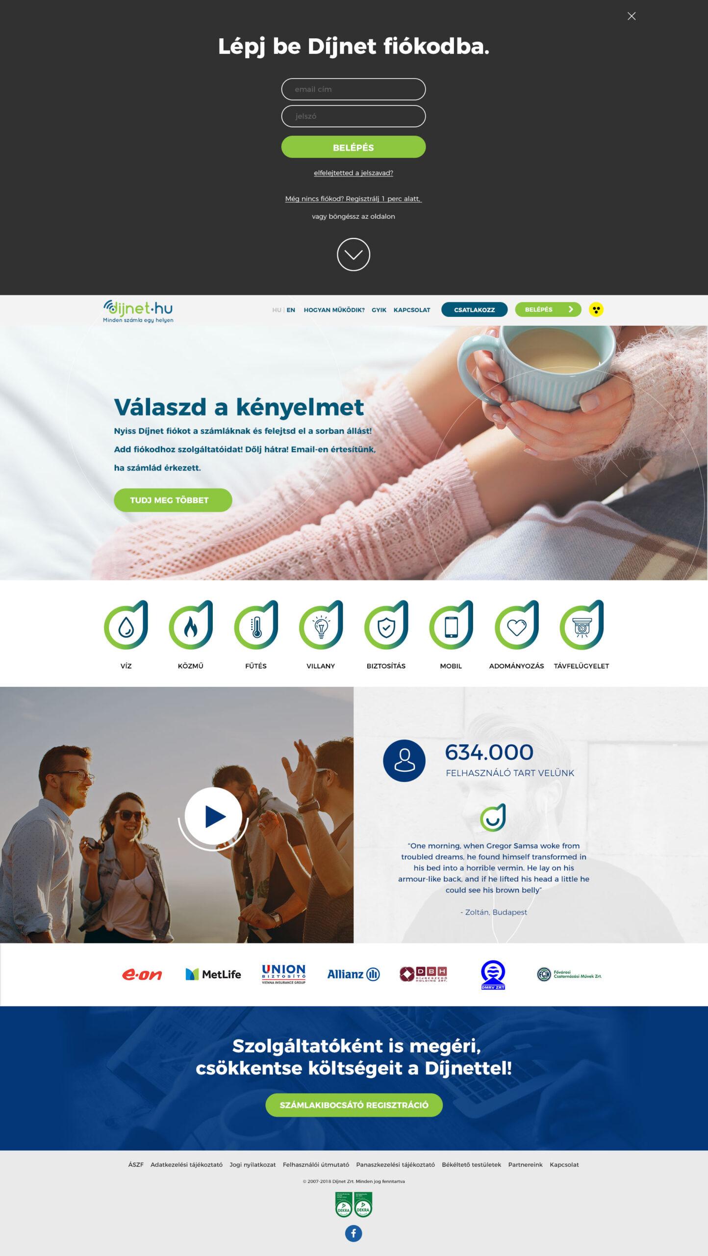 weboldal újratervezés - főoldali design